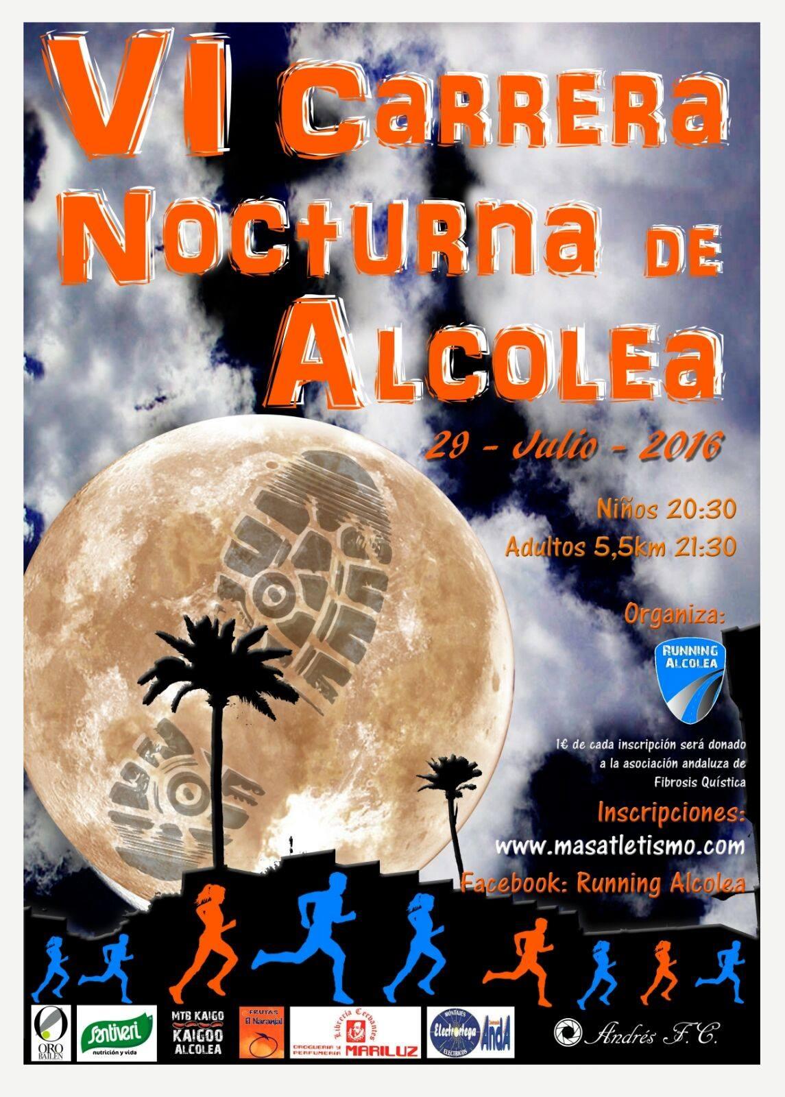 La VI Carrera Nocturna de Alcolea colabora con la Asociación Andaluza de Fibrosis Quística
