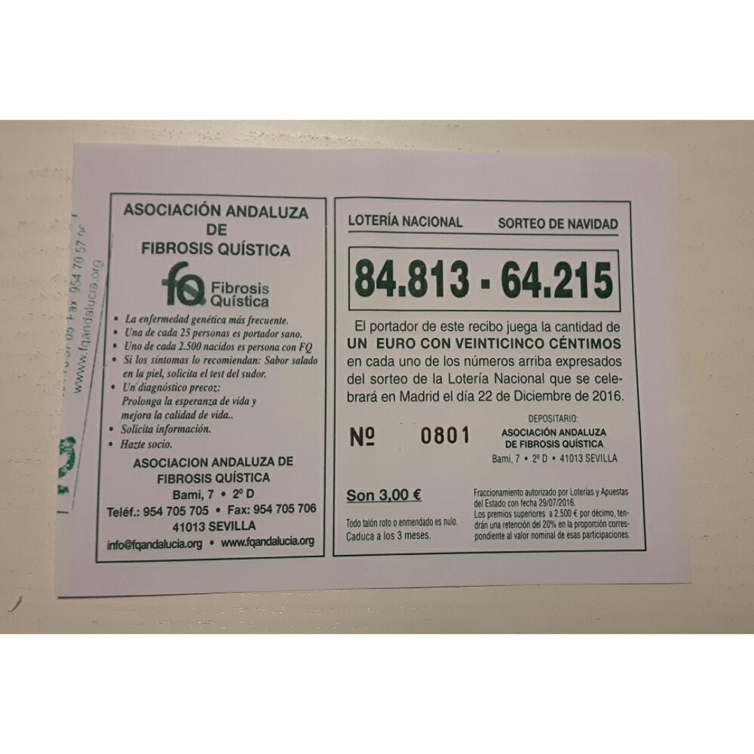 Roban un talonario de participaciones de Navidad de la Asociación Andaluza de Fibrosis Quística