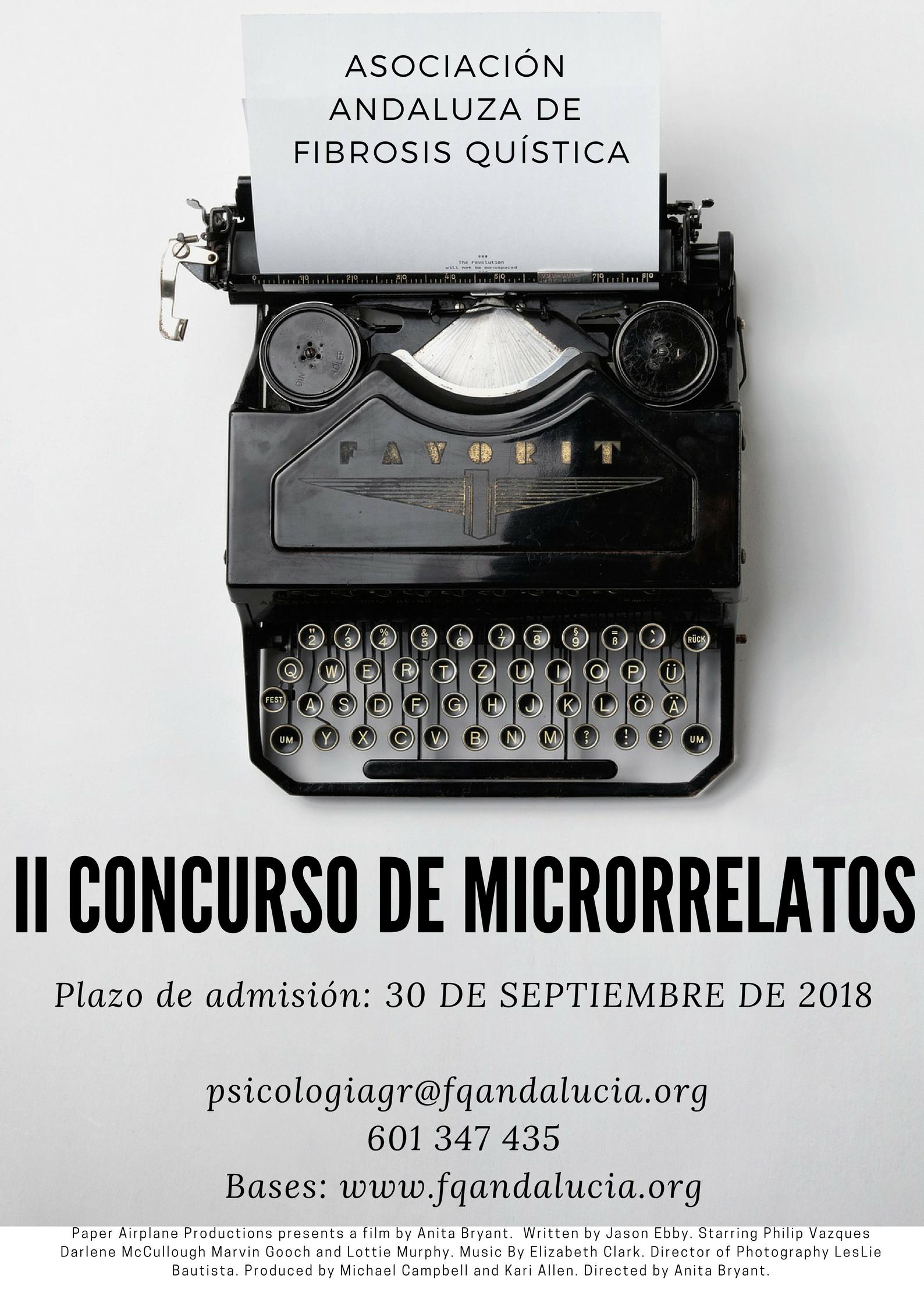 II CONCURSO DE MICRORRELATOS DE LA  ASOCIACIÓN ANDALUZA DE FIBROSIS QUÍSTICA