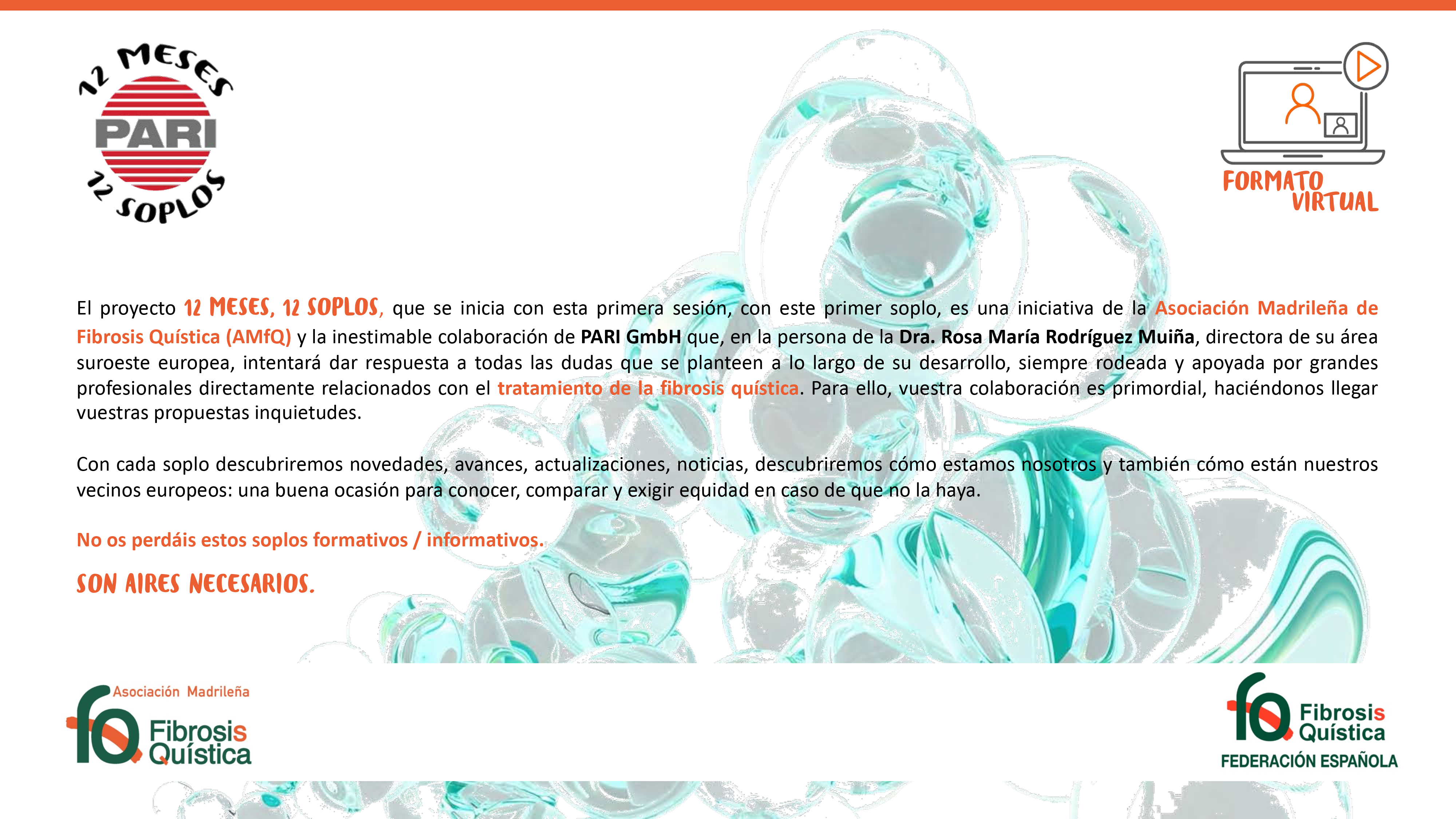 La Asociación Madrileña de FQ y PARI comienzan el ciclo de sesiones virtuales 12 meses, 12 soplos